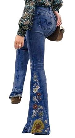 Gocgt Pantalones Vaqueros clásicos Bordados Florales para ...