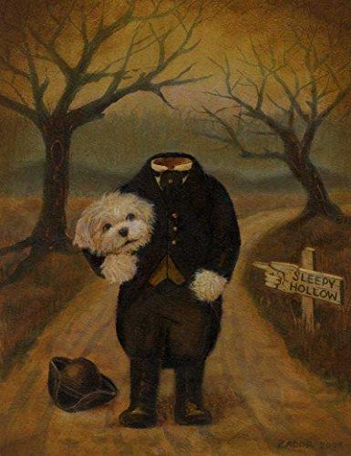 Dog Portrait Print - Halloween Dog - Dog Art - Halloween Decor - Headless Horseman - Sleepy Hollow - Gothic Print - Humorous - Funny Dog - Cute ()