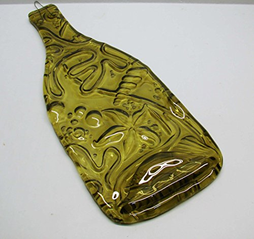 - Sea Life Design Yellow Melted Wine Bottle UpCycled as Decor or Cheese Platter Serving Tray