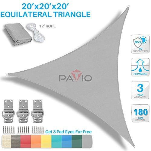 Patio Paradise 20 X 20 X 20 Light Grey Sun Shade Sail Equilateral