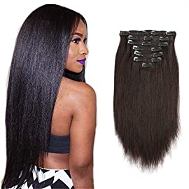 Sassina 12 Inch120G Silky Straight Clip In Human Hair Extensions for African American Black Women Double Wefts 7 Pieces…