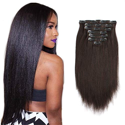 Sassina Brazilian Italian Yaki Straight Clip on Human Hair Extensions Real Remy Hair 8A Grade Clip in Hair 7 Pieces/Set 120 Grams For African American Black Women, YS 14 Inch ()