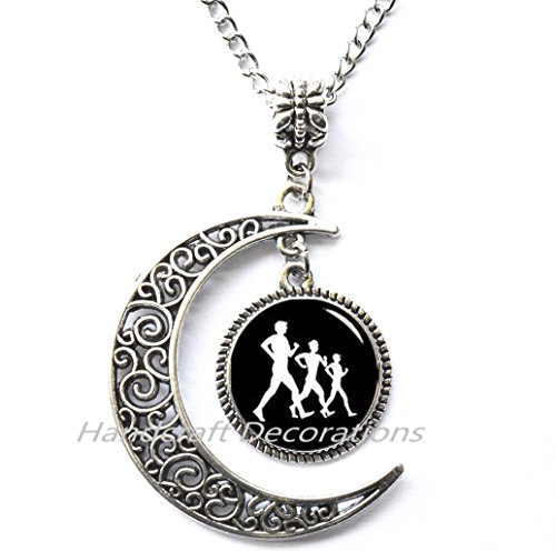 (Walking Race necklace,Sport Items necklace, Walkers necklace Race Walking necklace , Funny Gift, Glass Dome necklace.F201)