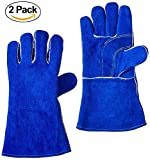 Xelparuc 2 Pair Welding Gloves, Double Cowhide Leather,Heavy Duty Hand Shield, Extreme Heat & Wear Resistant, For Grill, Fireplace, Work, Garden, Oven & Barbecue Cooking(Blue 14'')