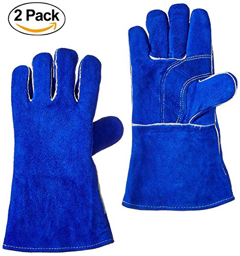 Xelparuc 2 Pair Welding Gloves, Double Cowhide Leather,Heavy Duty Hand Shield, Extreme Heat & Wear Resistant, For Grill, Fireplace, Work, Garden, Oven & Barbecue Cooking(Blue 14'') by Xelparuc
