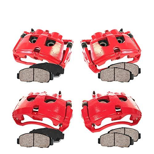 Callahan CCK03476 [4] FRONT + REAR Premium Loaded Red Calipers + Ceramic Brake Pads + Hardware Kit