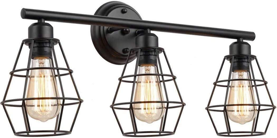 ACXLONG 3-Lights Industrial LOFT Wall Lamp Black Metal Cage 3 Heads Indoor Lighting Vanity Wall Light Mirror Front Lamp E27 Socket Wall Sconce Living Room Decor for Dressing Table Vanity Mirror Cabin