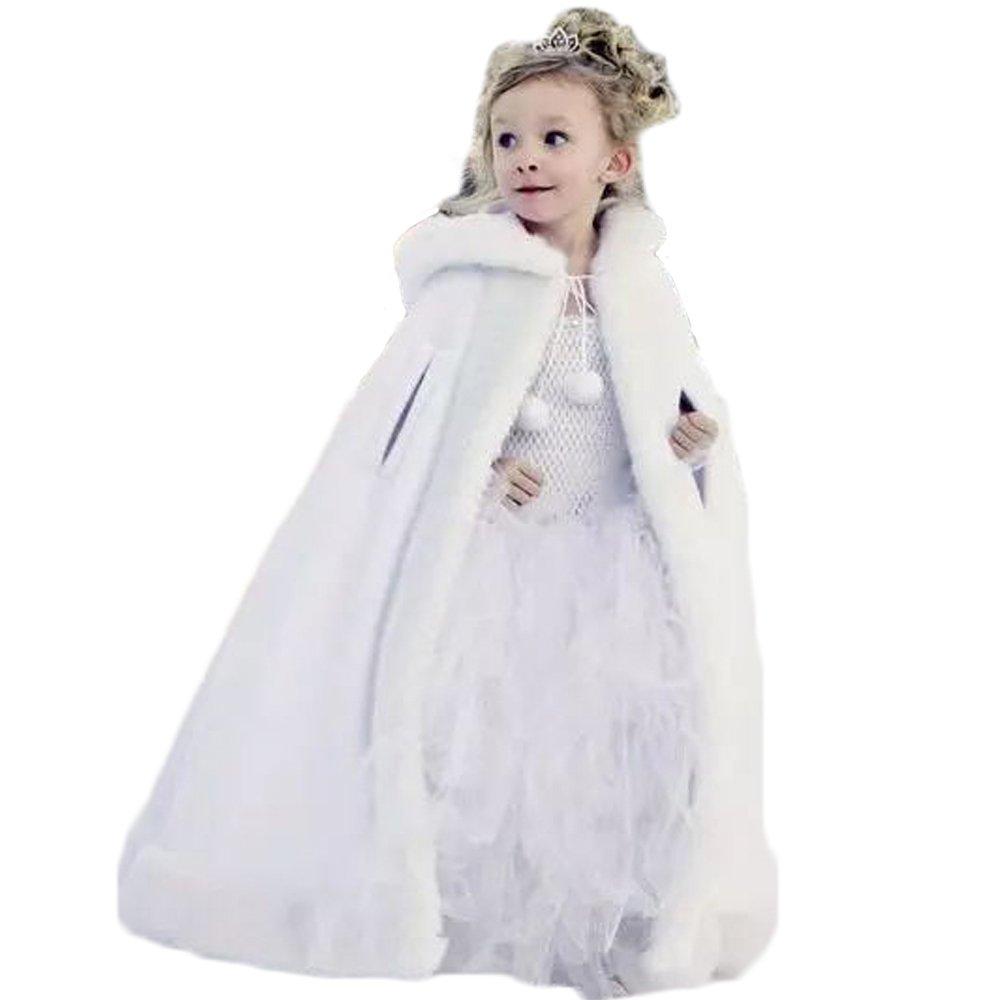 Vicokity Lovely Girls Cape Kids Wedding Cloaks Faux Fur Jacket Winter Satin Hooded Child Coats (White)