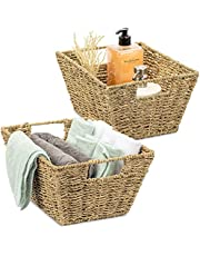 Sorbus Seagrass Baskets Decorative Shelf Organizer Bins Organization Storage Bins for Living Room, Books / dvd's, Bathroom Towels, Kitchen Pantry, Cabinet Organizer, Counter, Shelves, Bedroom, Handmade (2-PACK)