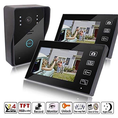 QUARKJK 2.4G 7″ Wireless Video Touch Key Camera Door Phone Doorbell Intercom IR System Night Vision Waterproof with 2 Monitors