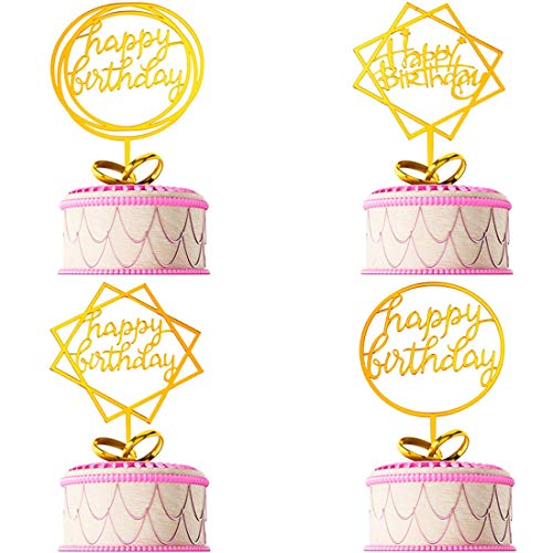 - 10PCS Golden Happy Birthday cake ingredients,cup cake topper, I love you and heart-shaped cake decorations
