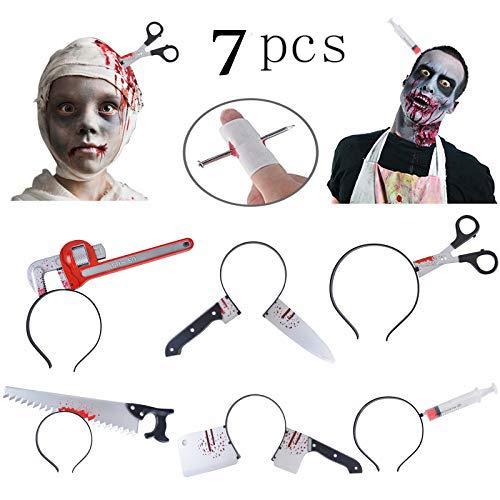 Fascigirl Halloween Headbands, 6 PCS Zombie Headbands + 1 Bonus Nail Through Finger Wound Horror Through Head Bleeding Adult Toys Props ()