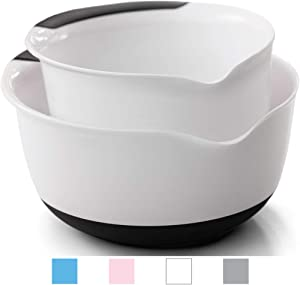 Gorilla Grip Original Mixing Bowls Set of 2, Slip Resistant Bottom, Includes 5 Qt and 3 Quart Nested Bowl, Dishwasher Safe, Grip Handle for Easy Mix and Pour, Baking and Cooking 2 Piece Set, White