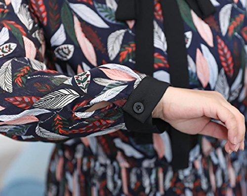 Bowknot Floral Oversize Féminin Coolred Ample Imprimé Floral Manches Longues Taille Élastique Mi Robe As1