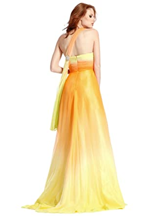 Clarisse One Shoulder Long Ombre Prom Dress 1351, Yellow, 0