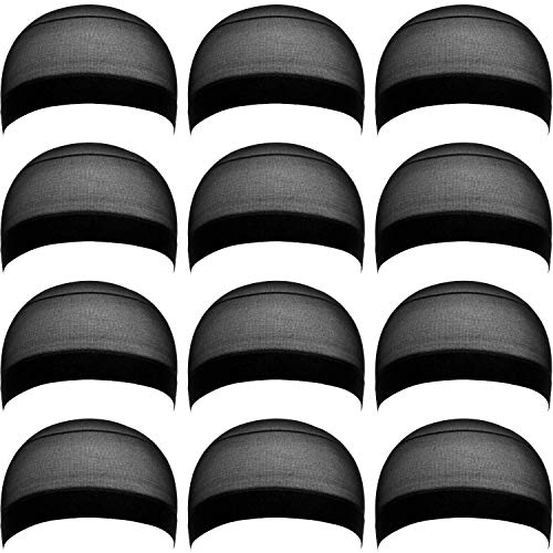eBoot 12 Pack Nylon Wig Caps for Women and Men (Black)]()