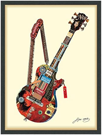 Empire Art Direct Electric Guitar Dimensional Art Collage Hand Signed by Alex Zeng Framed Graphic Wall Art