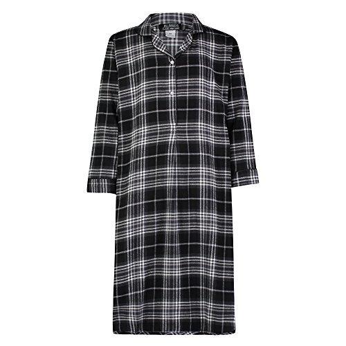 Bill Baileys Sleepwear Men's 100% Cotton Flannel Nightshirt Sleep Shirt (2X-Large, Black White Plaid)]()