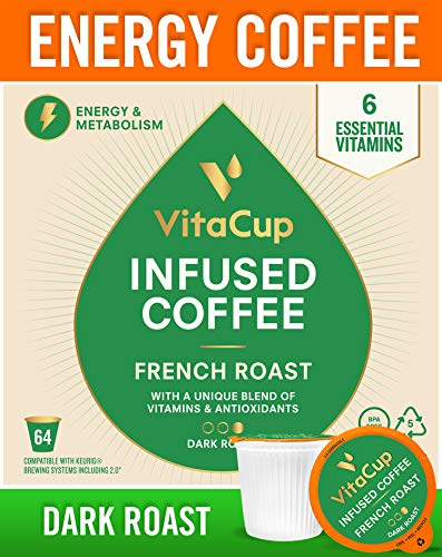 VitaCup French Roast Energy Blend Coffee Pods 64ct | Keto | Paleo | Whole30 | Vitamins B1, B5, B6, B9, B12, D3 | Compatible with K-Cup Brewers Including Keurig 2.0 | Dark Roast