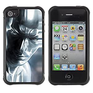 ZAAAZ Rugged Armor Slim Protection Case Cover Durable Shell - Silver Man - Apple Iphone 4 / 4S
