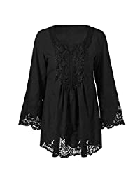Dezzal Women's Plus Size Bohemian Flare Sleeve Lace Patchwork Tunic Blouse