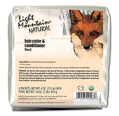 Light Mountain Natural Bulk Hair Color and Conditioner, Red, 16 Ounce (Henna Light Red)