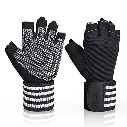 OZERO Workout/Gym/Weight Lifting/Crossfit Gloves for Men & Women, with Wrist Support & Full Palm Protection