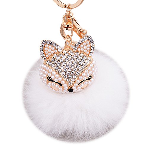 Boseen Genuine Rabbit Fur Ball Pom Pom Keychain with A fashion Alloy Fox Head Studded with Synthetic Diamonds(Rhinestone) for Womens Bag Cellphone Car Charm Pendant Decoration(White style (Fur Genuine Handbag)