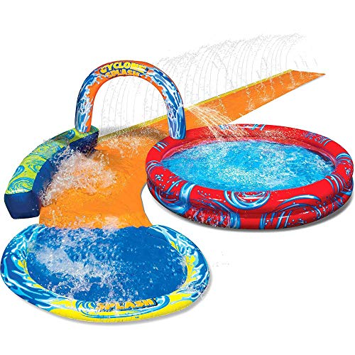 BANZAI Cyclone Splash Park Inflatable with Sprinkling Slide and Water Aqua Pool (Banzai Jungle Blast Water Park For Sale)