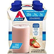 Atkins Ready to Drink Protein-Rich Shake, Strawberry, Gluten Free, 4 Count