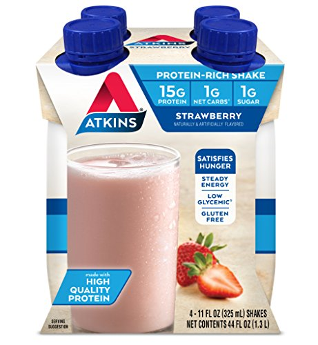 Atkins Gluten Free Protein-Rich Shake, Strawberry, 4 Count