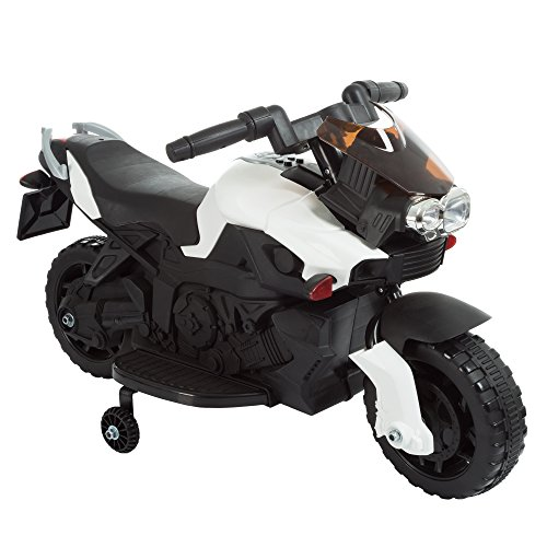 Motorcycle Boys (Lil' Rider Ride on Toy, 2 Wheel Motorcycle with Training Wheels by Battery-Powered Ride-on Toy for Toddlers Boys and Girls 2-5 Years Old - White)