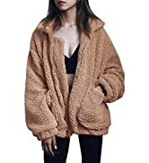 ECOWISH Women's Sherpa Jacket Casual Lapel Fleece Fuzzy Faux Shearling Zipper Teddy Coat Oversize...