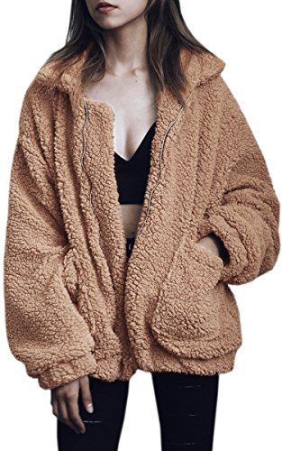 - ECOWISH Women's Coat Casual Lapel Fleece Fuzzy Faux Shearling Zipper Warm Winter Oversized Outwear Jackets Camel L