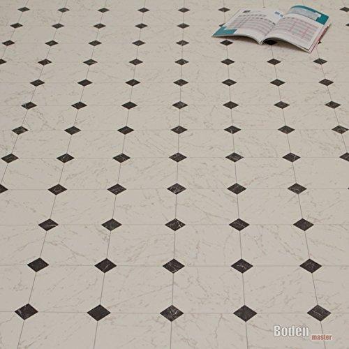 PVC Bodenbelag Fliese Marmor Schwarz Weiß Breite 4 m (8,95 € p. m²)