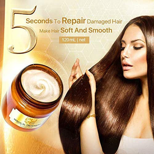 GB4 Magical Hair Mask Restore Soft Hair for All Hair Types Keratin Hair Hydrating Oil Hair Mask Deep Conditioner for Dry or Damaged Hair and Scalp Treatment Hair Smooth Supple (White 120ML)