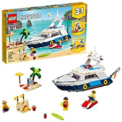 Head for sunny shores with the LEGO Creator 3in1 31083 Cruising Adventures set, featuring aluxury yachtwith a cool blue and white color scheme and an array of realistic details, including aliving room,diving board,hammock,indoor toilet...