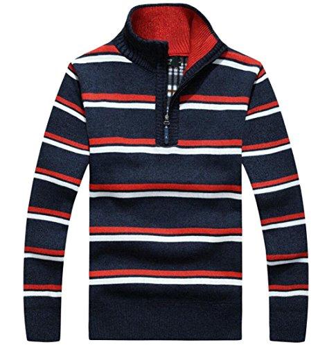 Men's amp;S amp;W Zip Sweater M Winter Blue Print Pullover Dark Half Strip qSExfFdFw