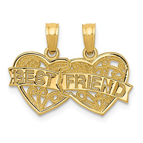 14k Yellow Gold Best Friends Bestfriend Friendship Breakable Double Hearts Pendant Charm Necklace Love Break Apart Fine Jewelry For Women Gift Set