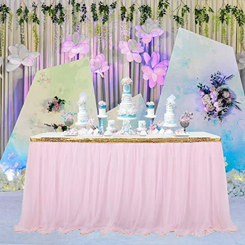 14 ft Pink Table Skirt With Gold Sequin Tulle Table Skirt for Bridal Shower Wedding Baby Shower Birthday -