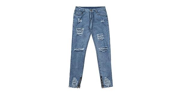 Zeshlla Essential Modern Valentines Mens Skinny Stretch Denim Pants Distressed Ripped Freyed Slim Fit Jeans Trousers