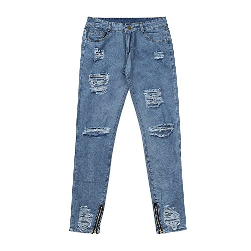 DORIC Wholesale Mens Skinny Stretch Denim Pants Distressed Ripped Freyed Slim Fit Jeans Trousers Blue