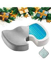 Gel Seat Cushion Memory Foam Coccyx Cushion U Shape with Soft Velour Cover Non Slip Bottom for Sciatica Tailbone Low Back Pain Herniated Disc Car Home Office Wheelchair Grey