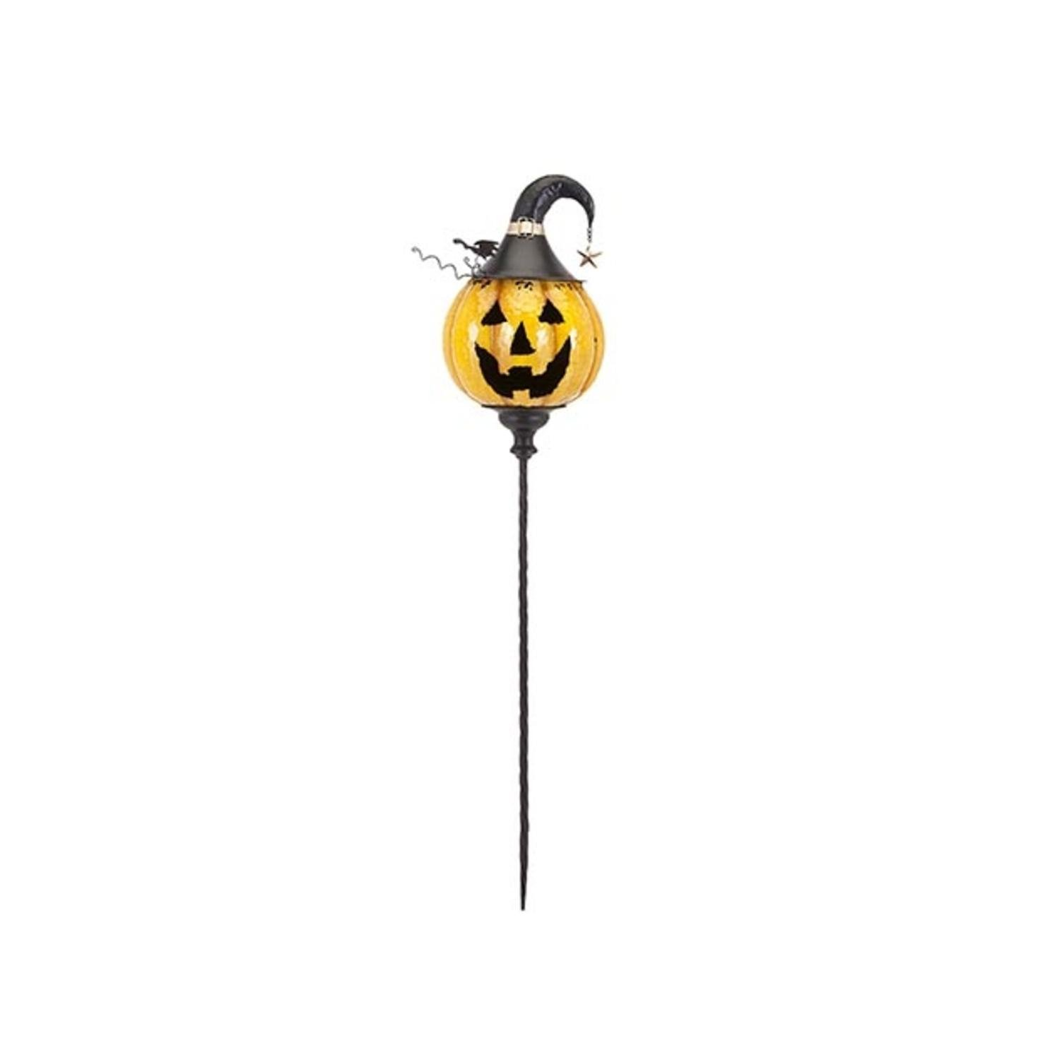 47'' 50.75'' Jack O Lantern Yellow Pumkin Decorative Halloween Outdoor Flower Garden Stake