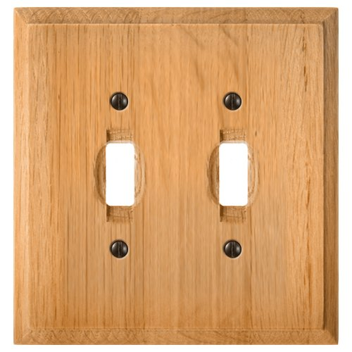 Amerelle Traditional Double Toggle Wood Wallplate in Light Oak