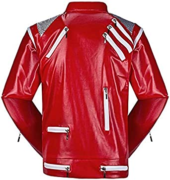 Shuanghao Unisex Thriller Beat it Giacca Rosso del Costume Cosplay di Michael Jackson