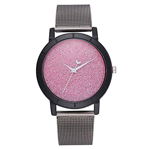 Pointer Band - XBKPLO Quartz Watches for Women Lady Stainless Steel Band Moon Pointer Fashion Starry Sky Wrist (Pink)