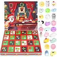 Advent Calendar - 2019 Christmas Countdown Advent Calendar 24 Animals Squishy Toys for Kids Surprise Every Day Relief Stress Toys Non-Toxic Cute Unicorn, Dinosaur, Santas