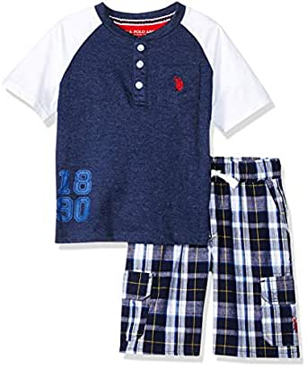U.S. Polo Assn. Boys SV95 Short Sleeve Henley T-Shirt and Pull-on Short Shorts Set - Blue - 5/6
