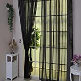 Drape Pure Color Tulle Door Window Curtain,Voile Curtain Scarf ,Tuscom (#4, 100x270CM/2PC)